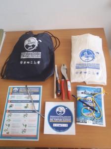 Kit de réanimation des tortues marines mis à disposition des pêcheurs professionnels impliqués dans le programme.